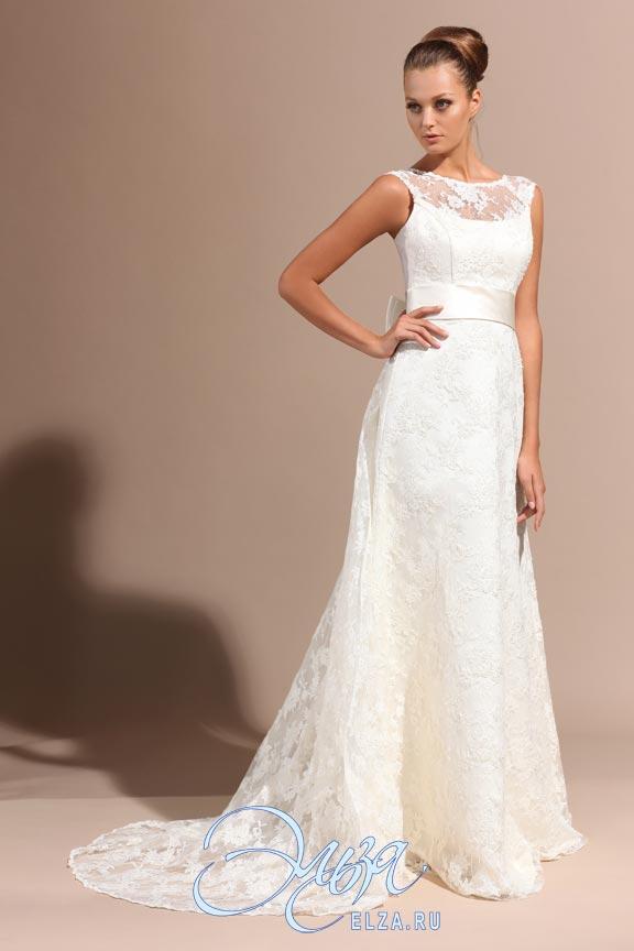 Прямое свадебное платье с кружевом 4