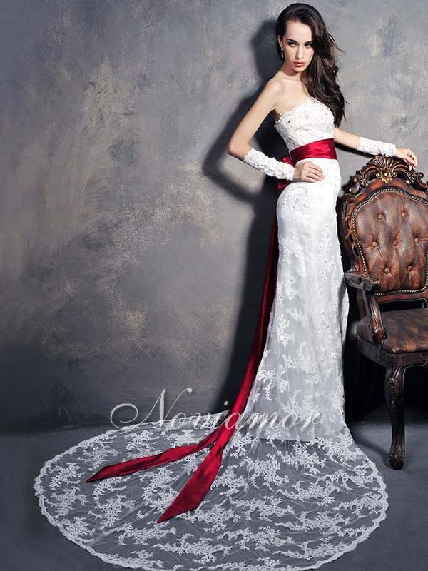 Комментарий: Свадебные платья с красной лентой... Комментарий: Sheath Strapless Court Train Wedding Dress