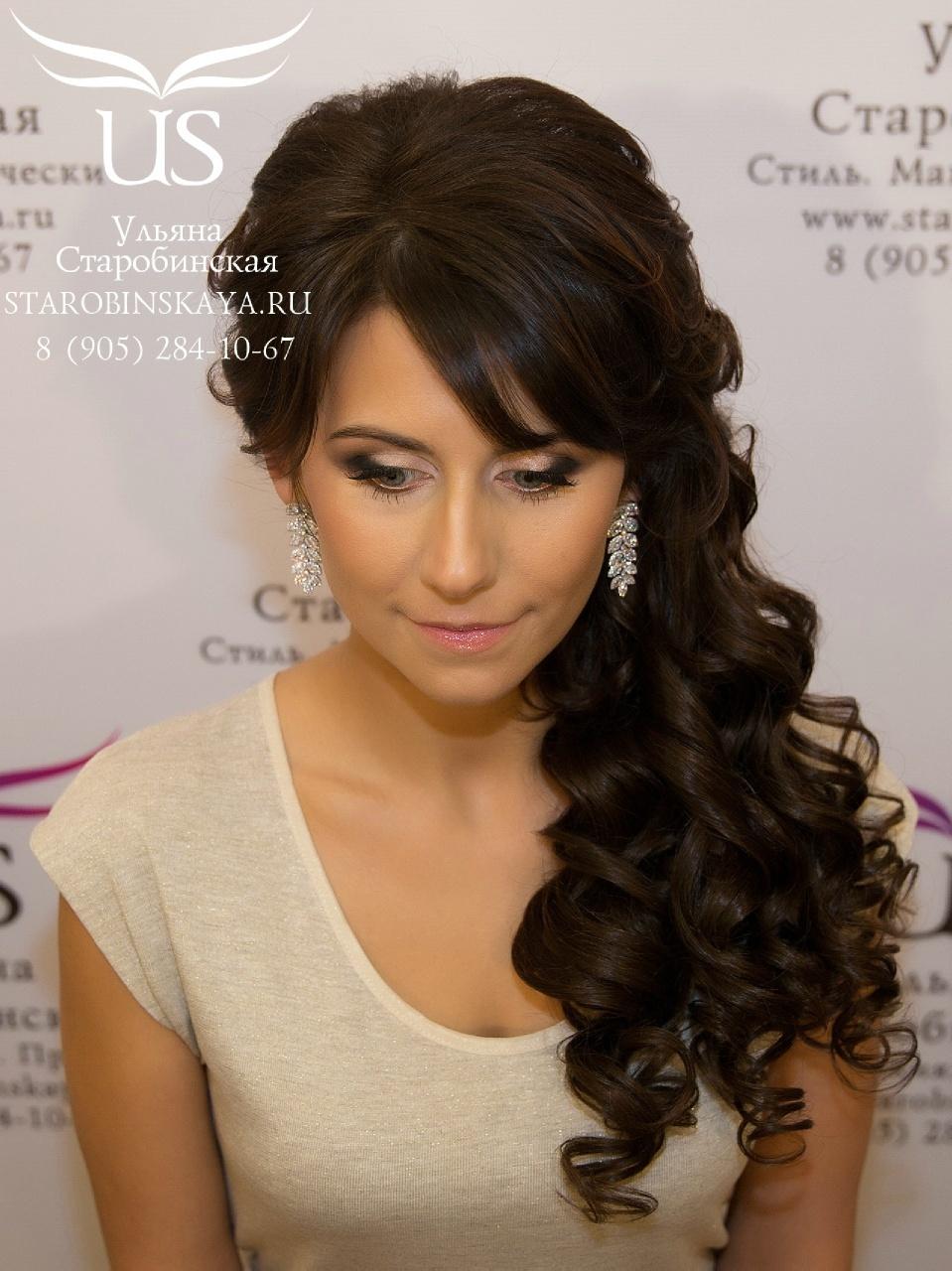 Прически с прямой челкой на средние волосы кудри