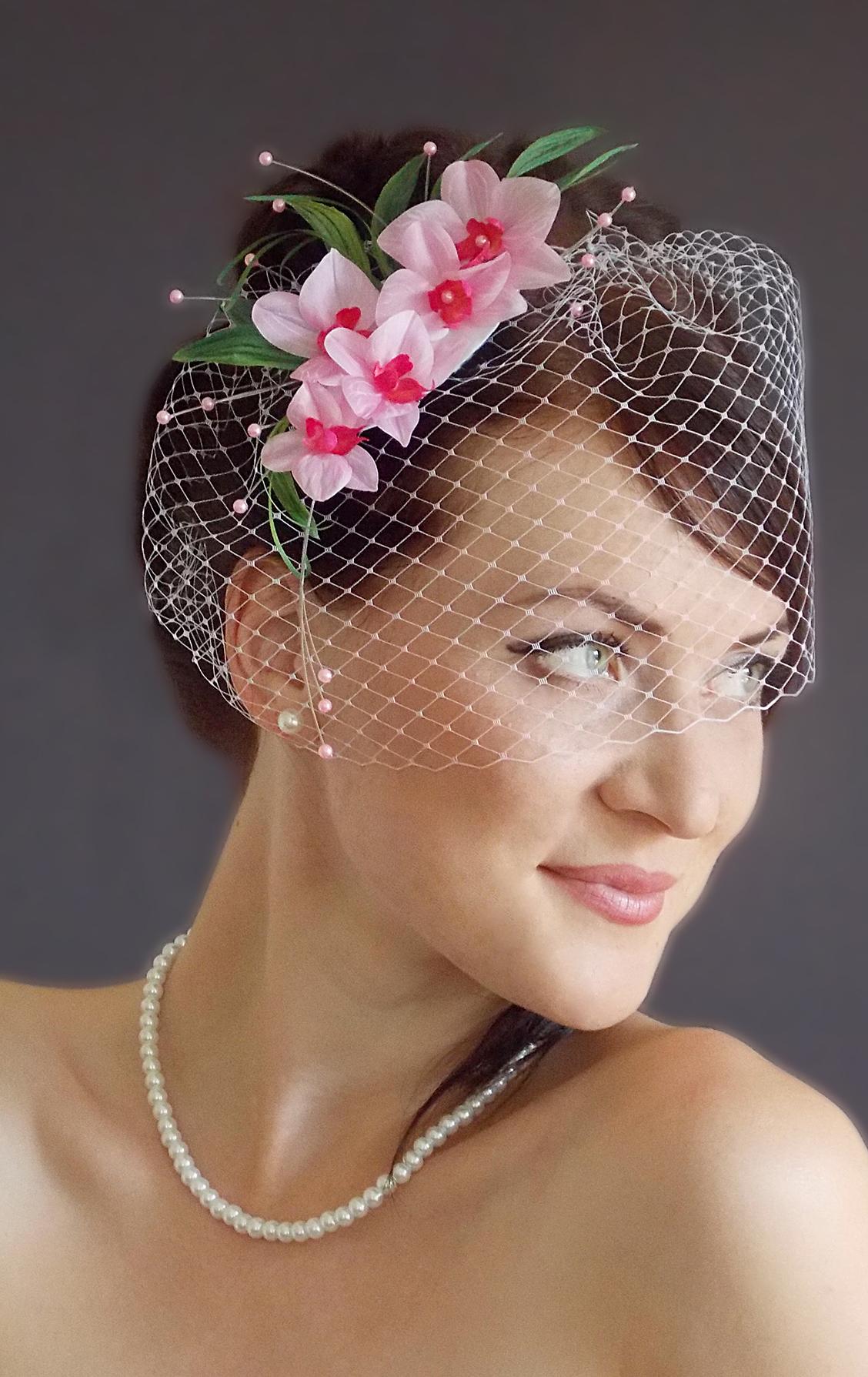 Свадебная шляпка с вуалеткой своими руками
