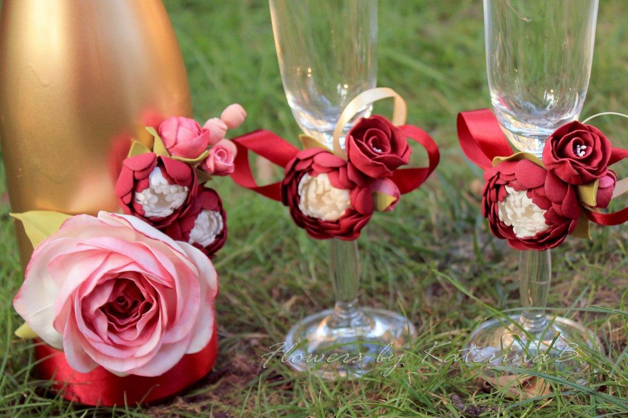 Розы из полимерной своими руками для бокалов