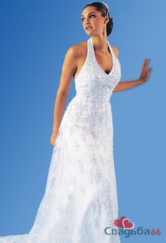 Белое свадебное платье с V-образным вырезом декольте.  - фото 11 simik