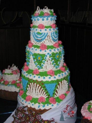 Многоярусный свадебный торт в зеленых и голубых тонах. - фото 117 simik