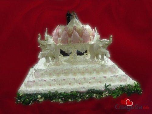 Свадебный торт  в виде цветка лотоса со слонами. - фото 23 simik