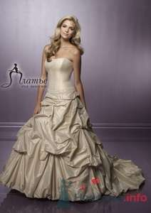 Свадебное платье цвета кофе с молоком с простым корсетом и присборенной юбкой. - фото 157 Невеста01