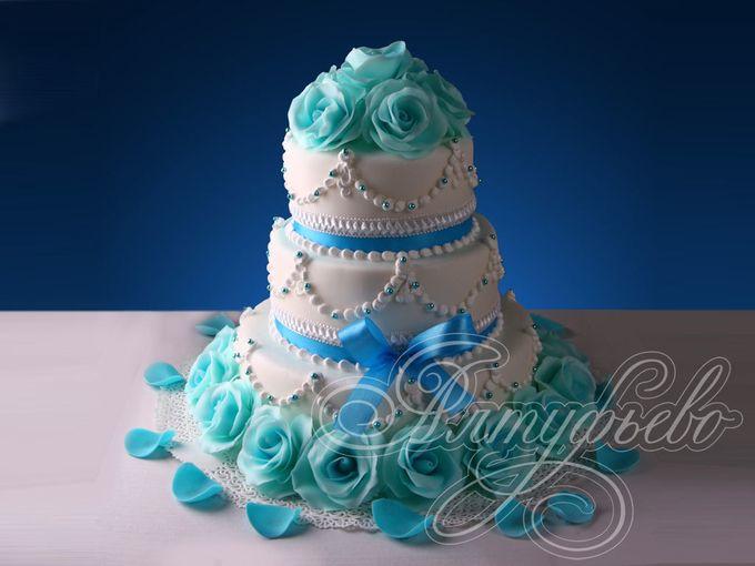 Свадебные торты с бирюзой фото