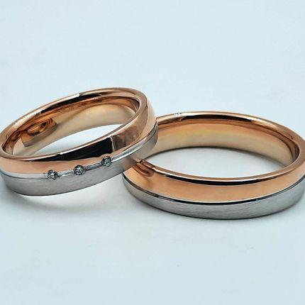 Парные обручальные кольца двухцветные с бриллиантами