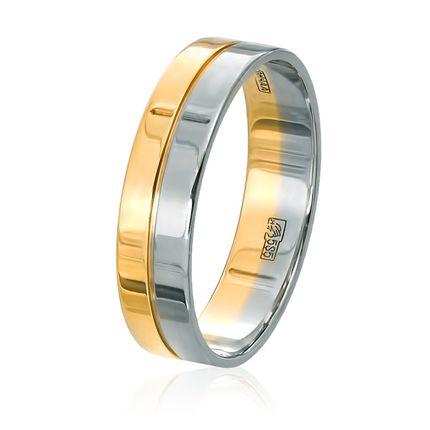 Комбинированное плоское обручальное кольцо: белое и жёлтое золото