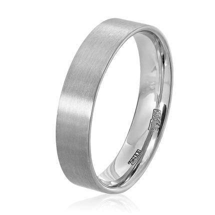 Матовое обручальное кольцо из белого золота плоское