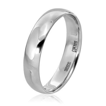 Обручальное кольцо классическое из белого золота