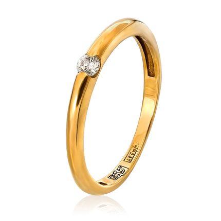 Обручальное кольцо классическое с 1 бриллиантом