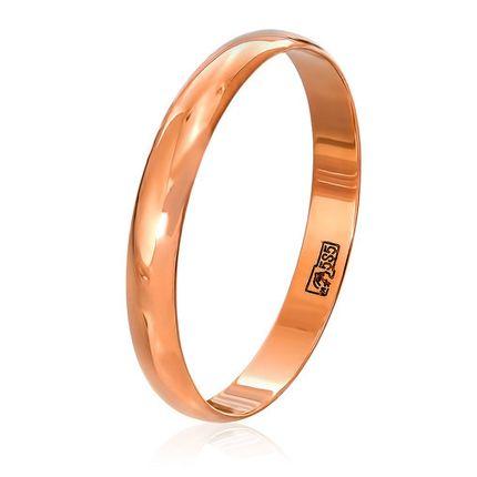 Обручальное кольцо классическое из красного золота, ширина 3 мм