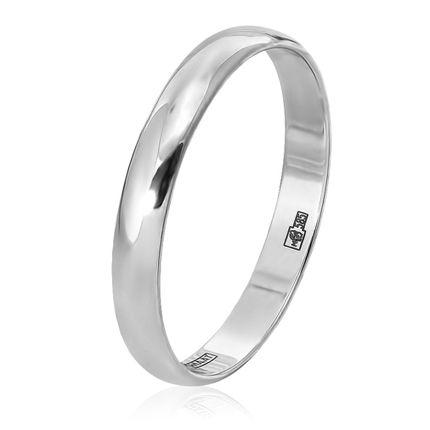 Классическое обручальное кольцо из белого золота, ширина 3 мм