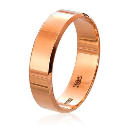 Обручальное кольцо плоское c алмазной фаской в красном золоте