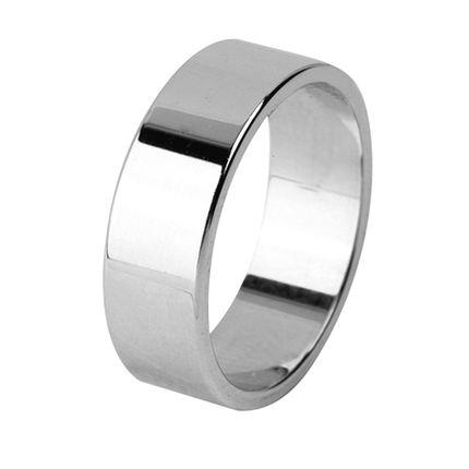 Кольцо обручальное плоское гладкое из белого золота, ширина 6 мм