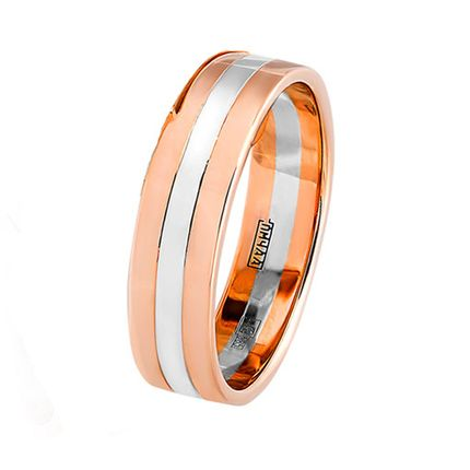 Обручальное кольцо плоское двусплавное из красного и белого золота