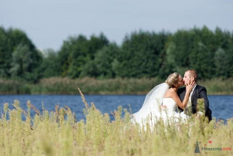 Жених и невеста целуются на берегу озера - фото 65344 *Малинка*