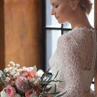 букет невесты, образ невесты, платье, бохо