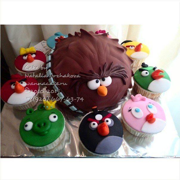 Торт и маффины Angry Birds - фото 4716989 Свадебные торты от Наталии Аржаковой