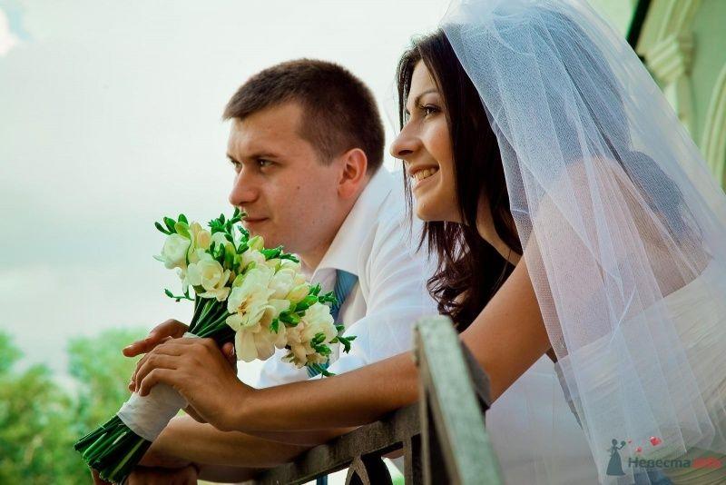 Букет невесты из белых фрезий, перевязанный белой лентой  - фото 54339 Anjuta