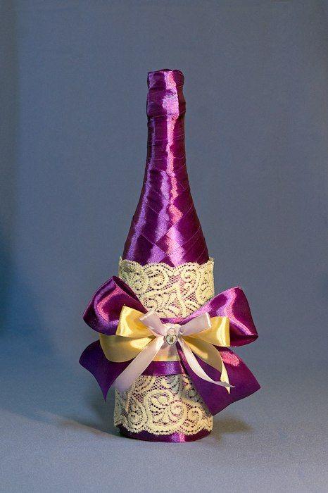 Украшение бутылки шампанского лентами на новый год мастер класс