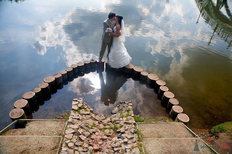 Жених и невеста, прислонившись друг к другу, стоят на фоне водоема