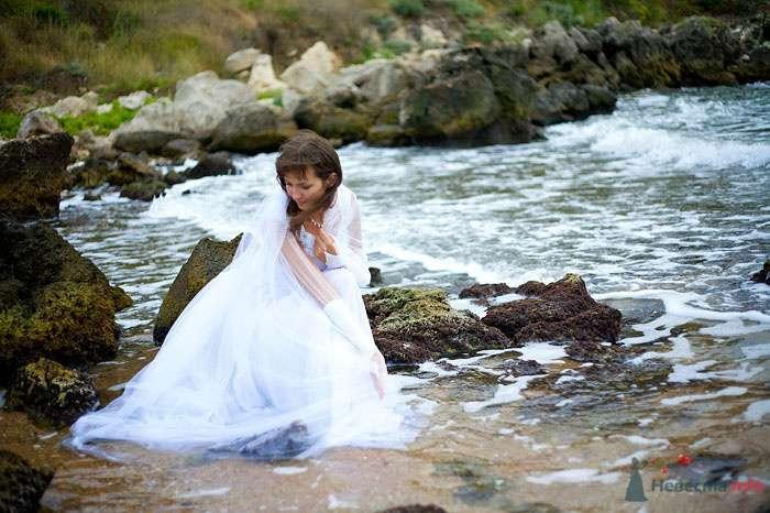 Невеста в белом длинном платье сидит на берегу реки - фото 73402 Фотограф Сергей Ежов