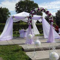 Выездная регистрация брака. Оформление цветами и тканями