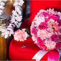 Розовый букет невесты из гвоздик, роз и гербер