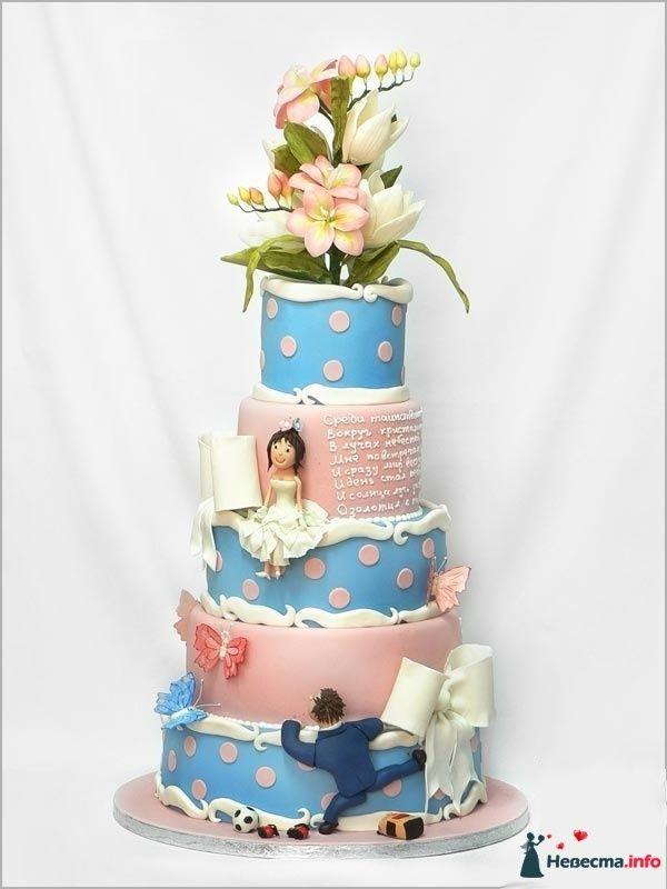 Многоярусный свадебный торт, розово-голубого  цвета, украшенный цветами, бантиками, бабочками из сахарной пасты и фигурками - фото 83102 Ленусечка