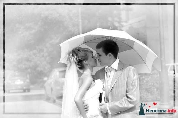 Жених и невеста, прислонившись друг к другу, стоят на улице под зонтом - фото 86537 La fiancée Juill