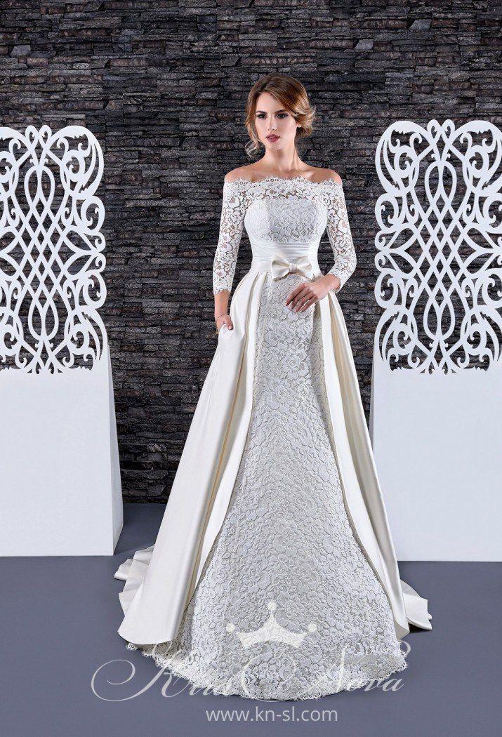 """Свадебное платье - трансформер  Арт. S-08  Восхитительное кружевное платье """"рыбка"""" прекрасно подчеркивает фигуру, съемная юбка из дорогого шикарного атласа декорирована тонким поясом и изящным бантиком. В таком платье вы несомненно будете неотразимы!  Это - фото 16782640 Свадебный салон """"Vesta - Bride"""""""