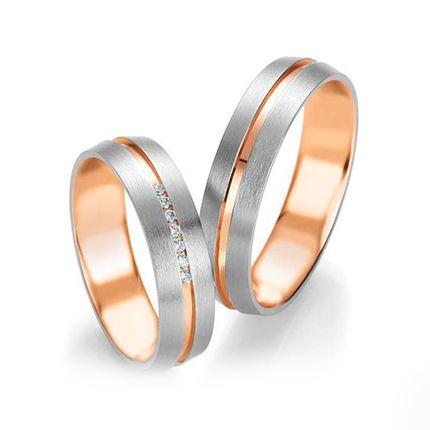 Матовые обручальные кольца из золота двух цветов