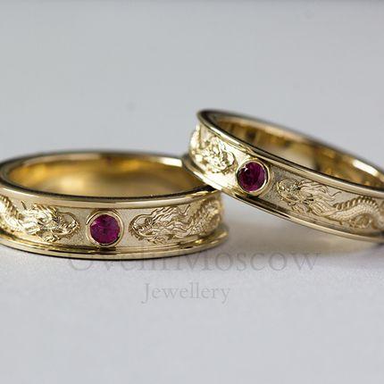 Обручальные кольца с драконами (арт.3407)