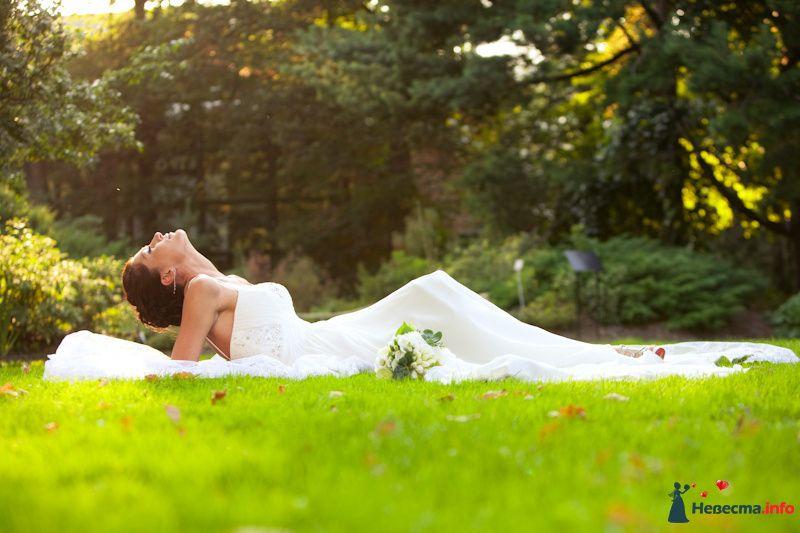 Невеста в белом платье лежит на траве в лесу - фото 91885 Свадебный фотограф Роман Пламеневский
