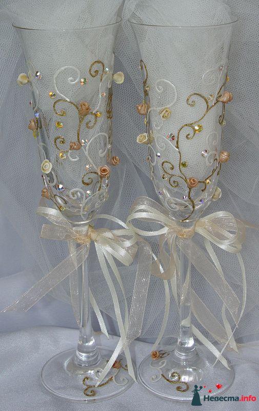 """Фото 111542 в коллекции Свадебные бокалы модель """"Любовь и розы""""  - """"Aнютa"""" - свадебные бокалы и аксессуары"""