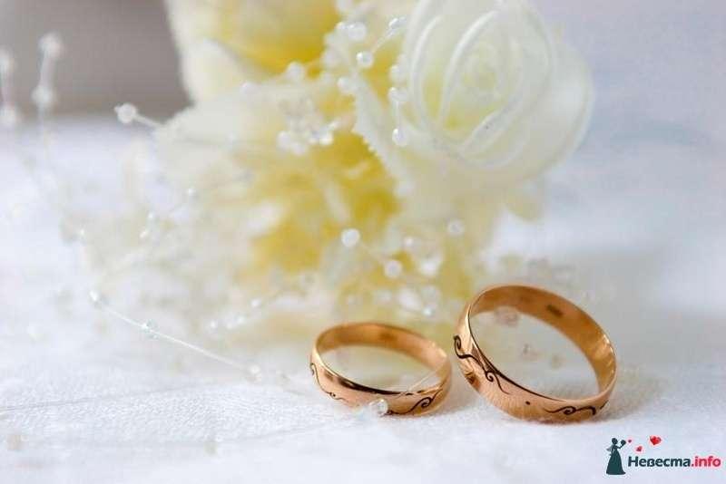 Золотые обручальные кольца, выполненные в классическом стиле, на фоне белых роз и бусин. - фото 109344 Фотограф Николай Майоров