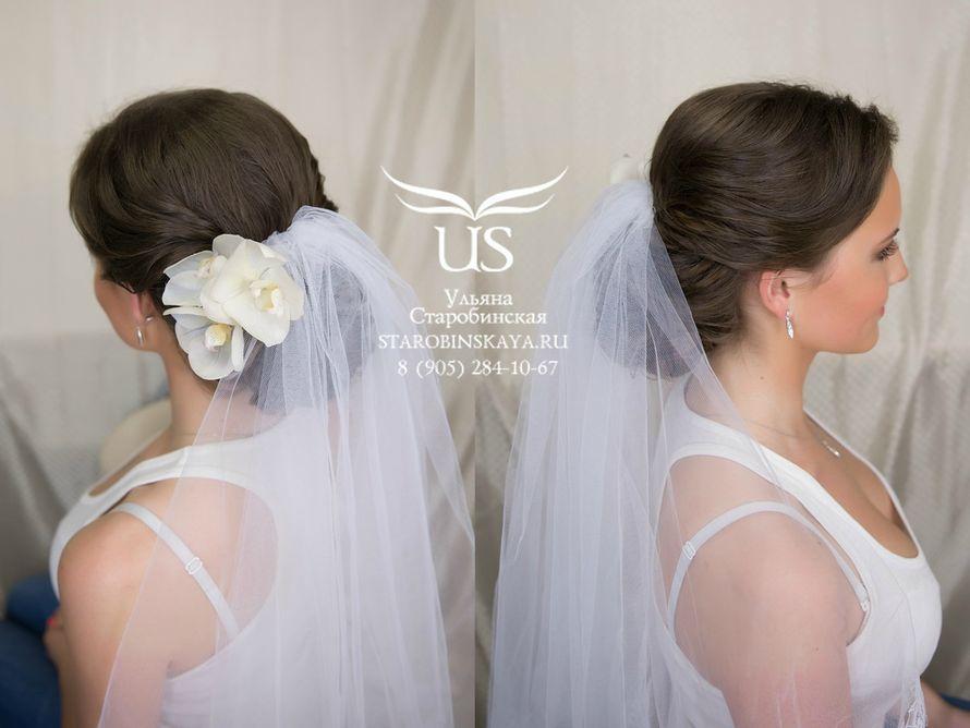 Прически свадебные пучок с фатой
