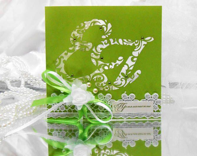 Зеленая свадебная открытка, день рождения прикольная