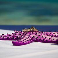 Морская звезда в качестве подушечки для колец на свадьбе в Доминикане