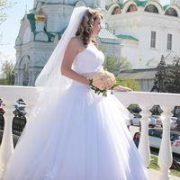"""Пышное свадебное платье """"Ирен"""" в белом цвете с пудровым поясрм!"""