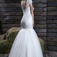 """Свадебное платье """"Рыбка"""" с гипюровым верхом."""