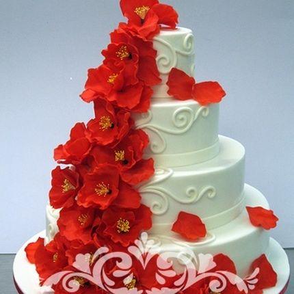 Свадебные торты с декором из мастики