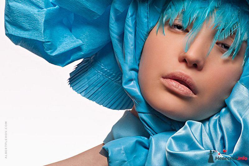 Креативный образ невесты выражен в прическе из собранных волос с голубой пышной шапкой, с естественным макияжем - фото 109943 Хабарова Марина - прическа и макияж на свадьбу