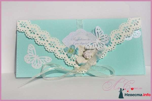 """Конверт """"Мятная бабочка"""" (С Днем свадьбы) - фото 124162 Ля Стиль - цветы и подарки"""