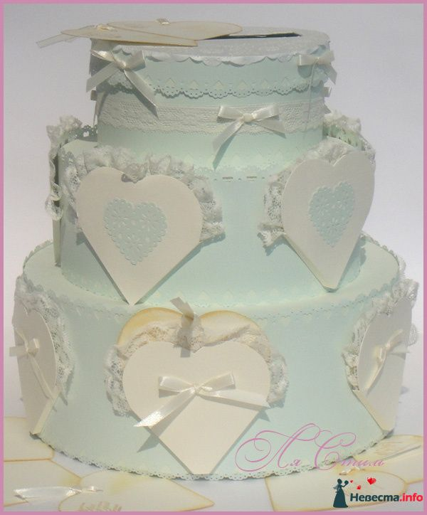 """Сундучок для  денег - Торт """"Кружевное сердце"""" - фото 126224 Ля Стиль - цветы и подарки"""