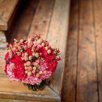 Букет из гвоздики и ежевики в красной цветовой политре
