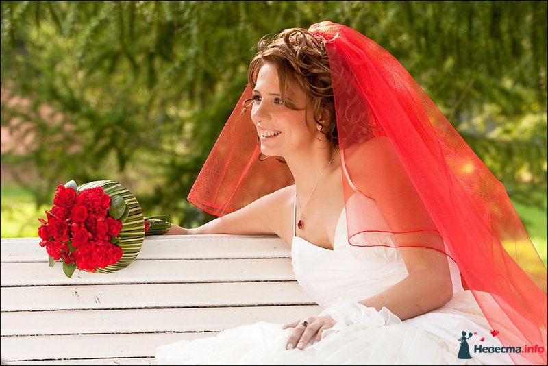 Невеста в красной фате сидит на скамейке в парке - фото 88245 Tanuha