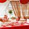 Сладкий стол в стиле Love is в красно-персиковых тонах на свадьбе Лики и Владимира от Candybar в Санкт-Петербурге