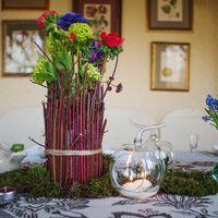 оформление гостевого стола, рустикальный стиль, рустик, мох, ветки, дерево, свечи